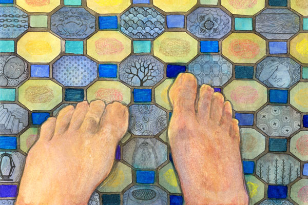 Feet on tile